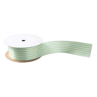 Soft Green and White Stripes Ribbon Satin Ribbon