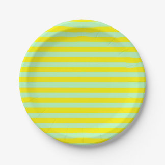 Soft Green and Yellow Stripes Paper Plate