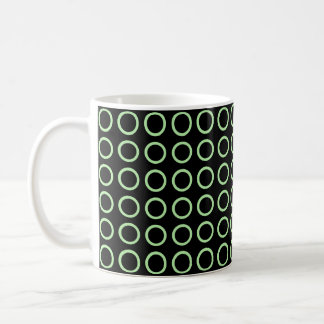 Soft Green Circles Black Coffee Mug