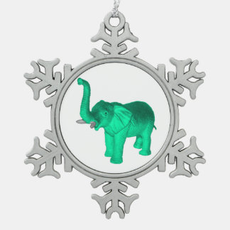 Soft Green Elephant Snowflake Pewter Christmas Ornament