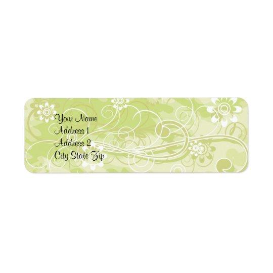 Soft Green Floral and Swirl Pattern Address Lables Return Address Label