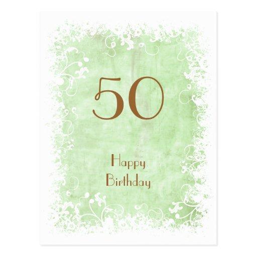 Soft Green Floral birthday postcard
