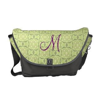 Soft Green Geo Pattern Rickshaw Messenger Bag