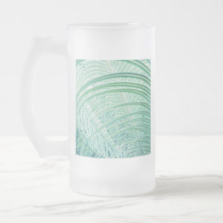 Soft Green Plant Palm Leaf Frosted Glass Beer Mug