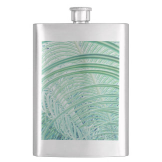 Soft Green Plant Palm Leaf Hip Flask