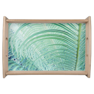 Soft Green Plant Palm Leaves Serving Tray