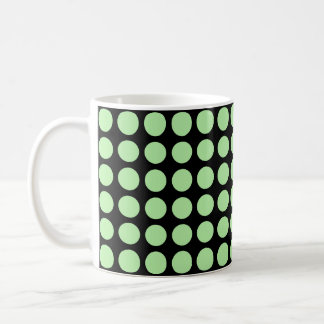 Soft Green Polka Dots Black Coffee Mug