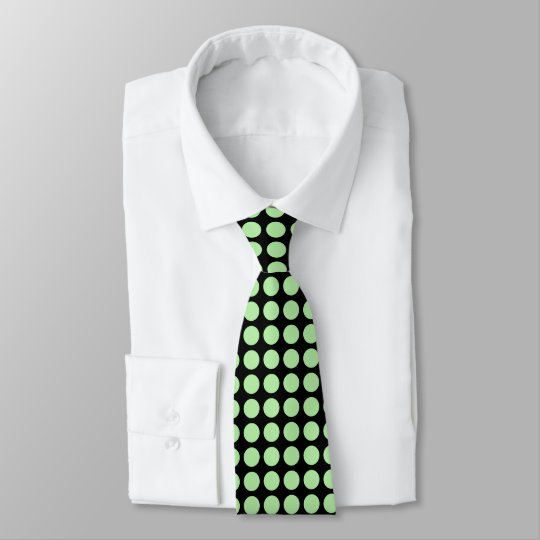 Soft Green Polka Dots Black Tie
