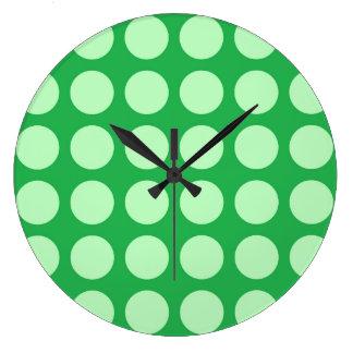 Soft Green Polka Dots Green Large Clock