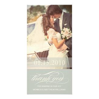 SOFT GREEN SCRIPT THANKS   WEDDING THANK YOU CARD PHOTO CARD