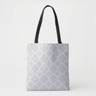 Soft Grey and White Quatrefoil Pattern Tote Bag