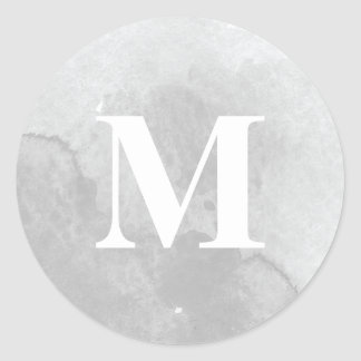 Soft grey watercolor wash monogram sticker