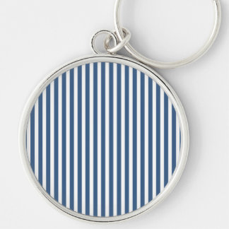 Soft Iris Blue and White Cabana Stripe Pattern Silver-Colored Round Key Ring
