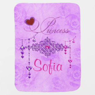 Soft Lavender Roses & Jewels Princess Baby Blanket