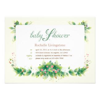 Soft Leaves Garden Baby Shower Invitation