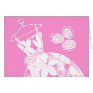 Soft Leaves Pink 'Bridesmaid' card horizontal
