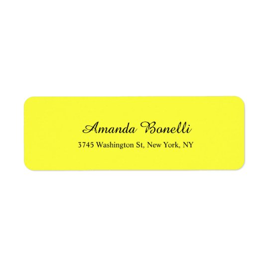 Soft Light Yellow Minimalist Elegant Modern Plain Return Address Label
