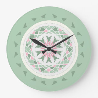 Soft mint green and pink mandala large clock