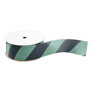 Soft Navy and Mint Green Wide Stripe Grosgrain Ribbon