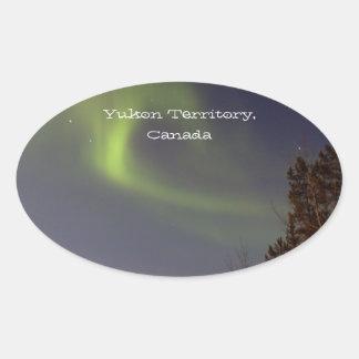Soft Northern Lights; Yukon Territory Souvenir Oval Sticker