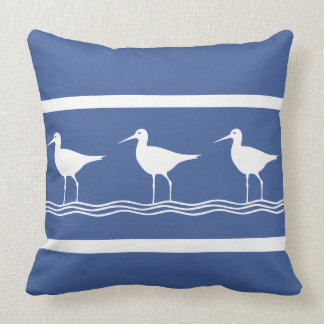 soft ocean blue  Sand Pipers on  white  PILLOW
