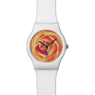 Soft orange rose print watch