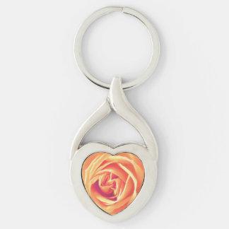 Soft orange rose print key chains