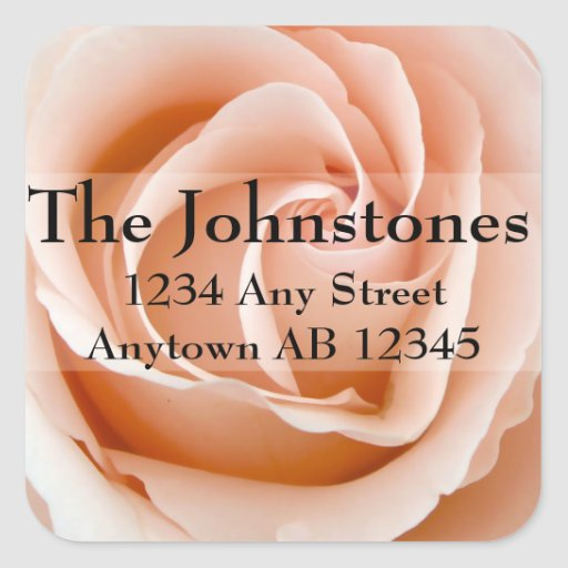 Soft Orange Rose Wedding Return Address Square Sticker