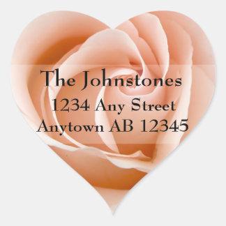 Soft Orange Rose Wedding Return Address Heart Sticker