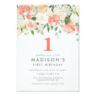 Soft Painted Floral Girls 1st Birthday Invite