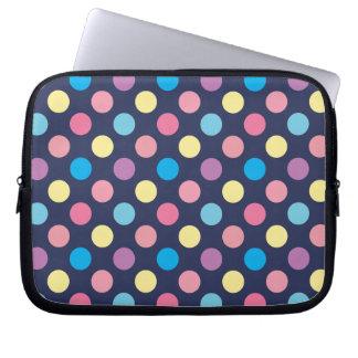 Soft Pastel Colors Polka Dots Pattern Laptop Sleeve