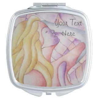 soft pastel colors posing bonde lady retro art vanity mirror