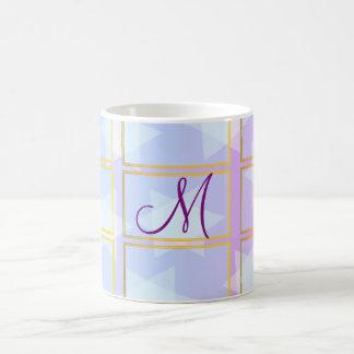 """Soft pastel colors """"star & checks theme"""" monogram coffee mug"""