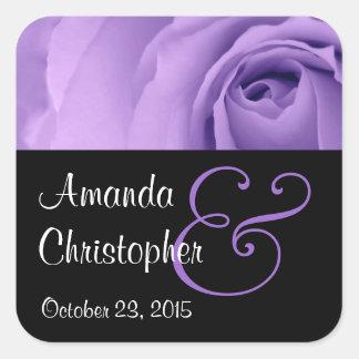 Soft Pastel Purple Rose Premium Wedding Collection Square Sticker