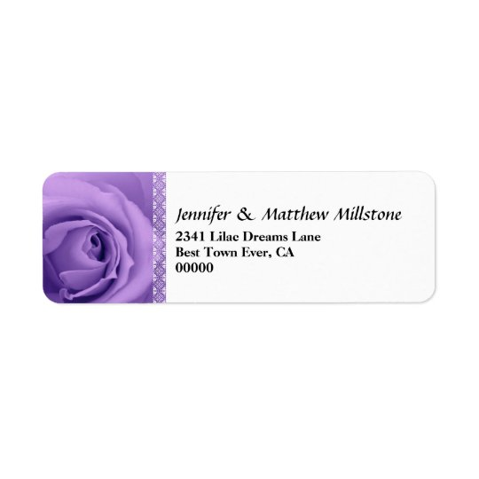 Soft Pastel Purple Rose with Lace Trim Wedding Return Address Label