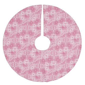 Soft Pink Abstract Hearts and Diamonds Brushed Polyester Tree Skirt