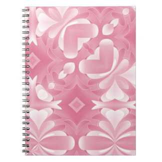 Soft Pink Abstract Hearts and Diamonds Spiral Notebook