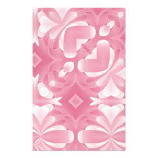 Soft Pink Abstract Hearts and Diamonds Stationery Design
