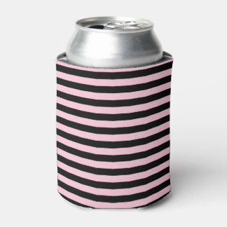 Soft Pink and Black Stripes Can Cooler