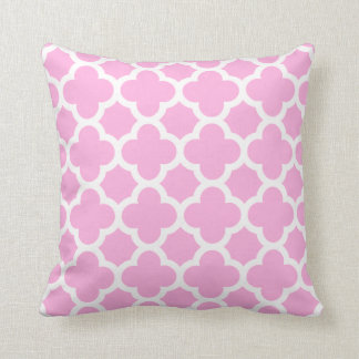 Soft Pink and White Quatrefoil Decorator Pillow