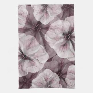 Soft Pink Burgundy Flowers Tea Towel