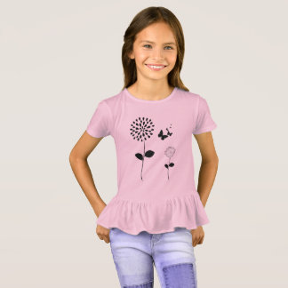 Soft-Pink-Butterflies-Flower Ruffle-Top T-Shirt