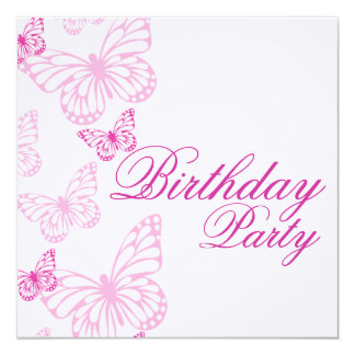 Soft Pink Butterfly Birthday Invitation