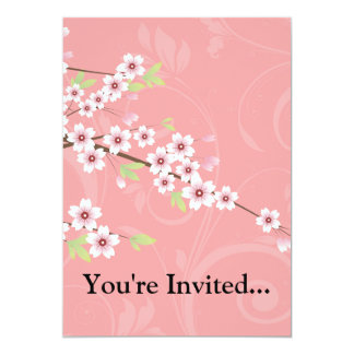 "Soft Pink Cherry Blossom 5"" X 7"" Invitation Card"
