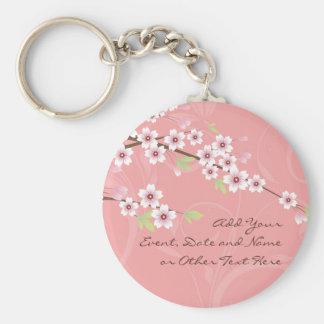 Soft Pink Cherry Blossom Basic Round Button Key Ring
