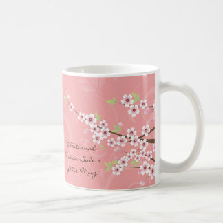 Soft Pink Cherry Blossom Basic White Mug