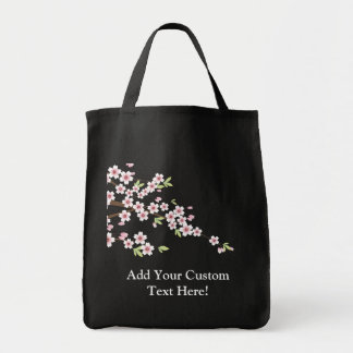 Soft Pink Cherry Blossom Grocery Tote Bag