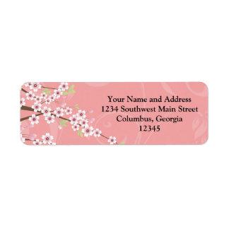 Soft Pink Cherry Blossom Return Address Label