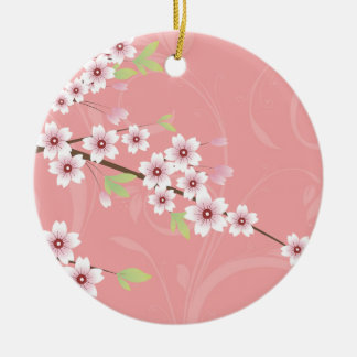 Soft Pink Cherry Blossom Round Ceramic Decoration