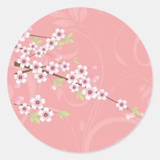 Soft Pink Cherry Blossom Round Sticker